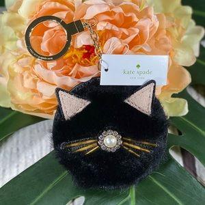 NWT! Kate Spade Cat Rhinestone Fuzzy Keychain